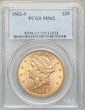 Liberty Double Eagles, 1882-S $20 MS62 PCGS....