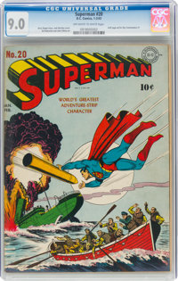 Superman #20 (DC, 1943) CGC VF/NM 9.0 Off-white to white pages