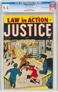 Justice Comics #5 Mile High Pedigree (Atlas, 1948) CGC NM 9.4 Off-white to white pages