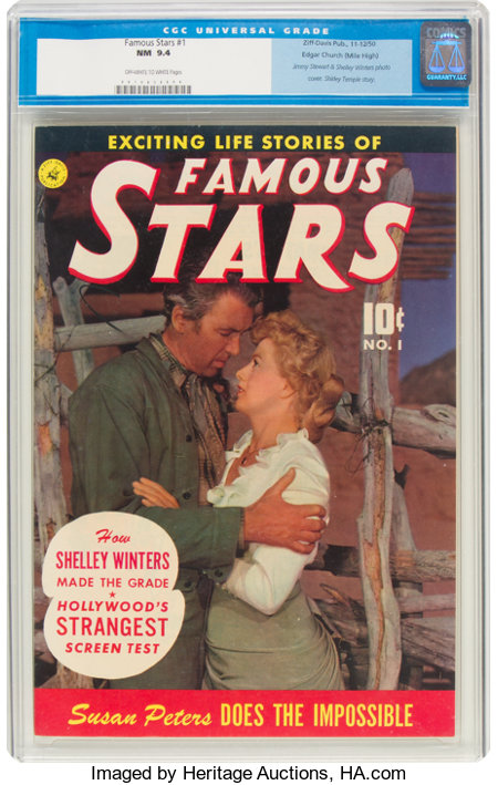 Famous Stars #1 Mile High Pedigree (Ziff-Davis, 1950) CGC NM 9.4 Off-white to white pages....