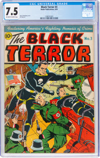 The Black Terror #3 (Nedor Publications, 1943) CGC VF- 7.5 Off-white to white pages