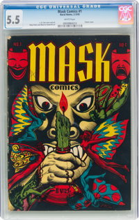 Mask Comics #1 (Rural Home, 1945) CGC FN- 5.5 White pages