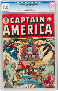 Captain America Comics #35 (Timely, 1944) CGC FN/VF 7.0 Off-white pages