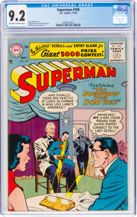 Superman #109 (DC, 1956) CGC NM- 9.2 Off-white to white pages