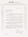 Music Memorabilia:Memorabilia, (Beatles) Bel-Air Association Letter to Reginald Owen After the Fab Four Were Guests at His Home (1964).. ...