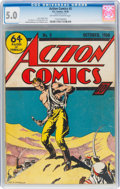 Golden Age (1938-1955):Superhero, Action Comics #5 (DC, 1938) CGC VG/FN 5.0 Off-white to white pages....