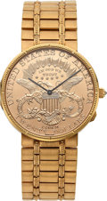 Timepieces:Wristwatch, Corum, Rare 25th Anniversary 1964-1989 $20 Gold Coin, 18k Gold, Ltd Ed. No. 1/50, Circa 1989. ...