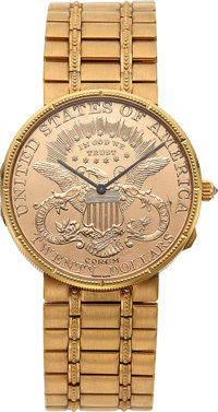 Corum, Rare 25th Anniversary 1964-1989 $20 Gold Coin, 18k Gold, Ltd Ed. No. 1/50, Circa 1989