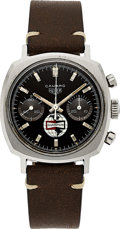 "Timepieces:Wristwatch, Heuer, Rare and Very Interesting Camaro ""Champion Logo"" Chronograph, Ref 7743 NT 30 Minute Register, Circa 1969. Accompanied ..."