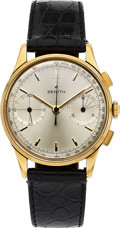 Timepieces:Wristwatch, Zenith, Ref. GH 171, Manual Wind Cal. 146D Chronograph, 18k Gold, Circa 1950's. ...