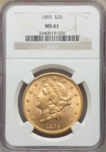 1893 $20 MS61 NGC. NGC Census: (2339/5385). PCGS Population: (1173/3597). MS61. Mintage 344,200. ...(PCGS# 9022)