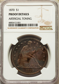 1870 $1 -- Artificial Toning -- NGC Details. Proof. Mintage 1,000....(PCGS# 7018)