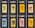 Baseball Cards:Lots, 1911 S74 - Colored Silks Old Mill Cigarettes SGC-Graded Collection (8). ...