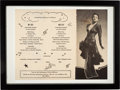 """Music Memorabilia:Autographs and Signed Items, Lena Horne Signed and Inscribed """"At the Cave Supper Club"""" Souvenir Dinner Menu. ..."""