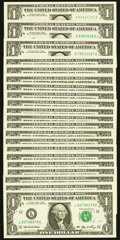Small Size:Federal Reserve Notes, Twenty-one Radar, Repeater, and Super Repeater Serial Number $1 Federal Reserve Notes Very Fine or Better.. ... (Total: 21 notes)