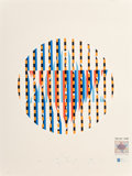 Prints & Multiples, Yaacov Agam (b. 1928). Israel 35 Years of Independence - Star of David, 1983. Serigraph in colors on paper. 15-1/2 x 14 ...