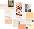 Movie/TV Memorabilia:Autographs and Signed Items, Casablanca Cast Autograph Collection (12) (1942). ...