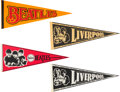 Music Memorabilia:Memorabilia, The Beatles Group of Four Felt Pennants (4) . . ...