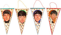 The Beatles Complete Set of Four Hanging Pennants (Oscar, 1960s)