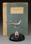 Collectible, Rare Etienne Mercier Silver-Plated Bronze Isadora Duncan Automobile Mascot with Book...
