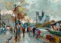 Antoine Blanchard (French, 1910-1988) Notre Dame Oil on canvas 13 x 18-1/4 inches (33.0 x 46.4 cm