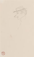 Works on Paper, Henri de Toulouse-Lautrec (French, 1864-1901). Profil, 1881. Crayon on paper. 8-1/4 x 5 inches (21.0 x 12.7 cm). with mo...