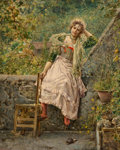 Paintings, Luca Postiglione (Italian, 1876-1936). Reverie. Oil on canvas. 19-1/2 x 15-1/2 inches (49.5 x 39.4 cm). Signed lower lef...