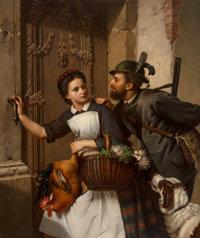Ferdinand Minor (German, 1814-1883) The flirtation Oil on canvas 43-1/2 x 36 inches (110.5 x 91.4 cm) Signed and ins