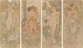 Prints & Multiples, Alphonse Mucha (Czech, 1860-1939). The Flowers, set of four, 1898. Lithographs in colors on paper. 40-3/4 x 17-1/8 inche... (Total: 4 Items)