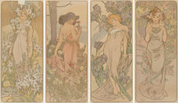 Alphonse Mucha (Czech, 1860-1939) The Flowers, set of four, 1898 Lithographs in colors on paper 4