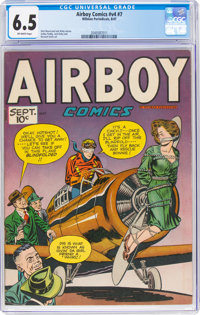 Airboy Comics V4#8 (Hillman Fall, 1947) CGC FN+ 6.5 Off-white pages