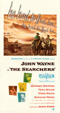 "Movie Posters:Western, The Searchers (Warner Bros., 1956). Fine on Linen. Three Sheet (41.5"" X 78.5"").. ..."