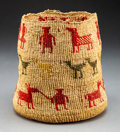American Indian Art:Baskets, A Wasco Pictorial Twined Sally Bag...