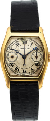 Cartier, Extremely Rare Tortue Monopoussoir Chronographe, European Watch and Clock Company, 18k Gold, Circa 1920's