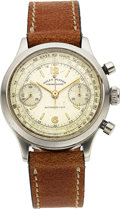 Timepieces:Wristwatch, Rolex, Rare Ref. 3525, Early Oyster Chronograph, Steel, Circa 1946. ...
