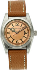 Timepieces:Wristwatch, Rolex, Beautiful Two Tone Salmon Dial Bubbleback, Ref. 2940, Stainless Steel, Circa 1942. ...