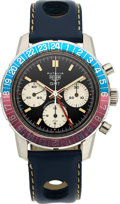 Timepieces:Wristwatch, Heuer, Very Rare Autavia GMT Retailed By Abercrombie and Fitch, Ref 2446C, Circa 1970's. ...