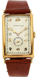 Timepieces:Wristwatch, Patek Philippe, Early and Fine Gondolo Rectangular Shaped No. 10, 18k Gold Oversized Case, Circa 1930. ...