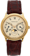 Timepieces:Wristwatch, Audemars Piguet, Day Date Moonphase, 18k Yellow Gold, Automatic, Ref. 25589, Circa 1980's. ...
