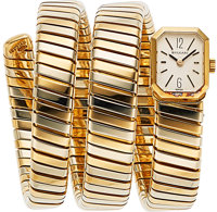 Bvlgari and Gerald Genta, Very Rare and Iconic Vintage Serpenti Tubogas, 18k White and Yellow Gold, Manual Wind, Circa 1...