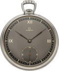Timepieces:Pocket (post 1900), Omega, Steel Pocket Watch, circa 1939. ...