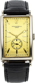 Timepieces:Wristwatch, Patek Philippe, Extremely Rare 18k White Gold Gondolo Rectangular Shaped No. 10, Manual Wind, Circa 1929. ...