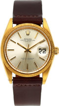 Timepieces:Wristwatch, Rolex, Ref. 1507 Oyster Perpetual Date, Bark Finished Bezel, 18k Gold, Circa 1969. ...