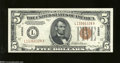 Small Size:World War II Emergency Notes, Fr. 2301 $5 1934 Mule Hawaii Federal Reserve Note. Very Choice Crisp Uncirculated....