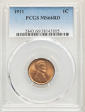 Lincoln Cents: , 1911 1C MS66 Red PCGS. PCGS Population: (131/15). NGC Census: (34/1). CDN: $720 Whsle. Bid for problem-free NGC/PCGS MS66. ...