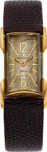Timepieces:Wristwatch, Jaeger LeCoultre, Duoplan Retailed by Ghiso, 18k Yellow Gold, Circa 1920's. ...
