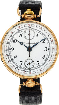 Hy. Moser & Cie, Very Early Single Button Chronograph, For Imperial Russian Market, 14k Gold, Circa 1915
