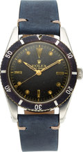 "Timepieces:Wristwatch, Rolex, Very Rare Ref. 6205 Small Crown ""Submariner"", Stainless Steel, Circa 1954. ..."