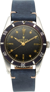 "Rolex, Very Rare Ref. 6205 Small Crown ""Submariner"", Stainless Steel, Circa 1954"