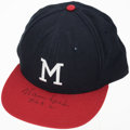 "Baseball Collectibles:Hats, Warren Spahn""363 W"" Signed Milwaukee Braves Hat...."